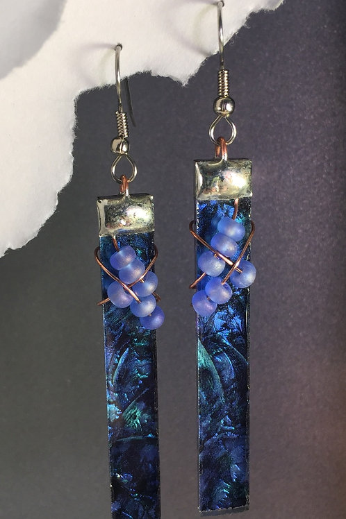 Van Gogh blue green french wire earrings (extra-long)