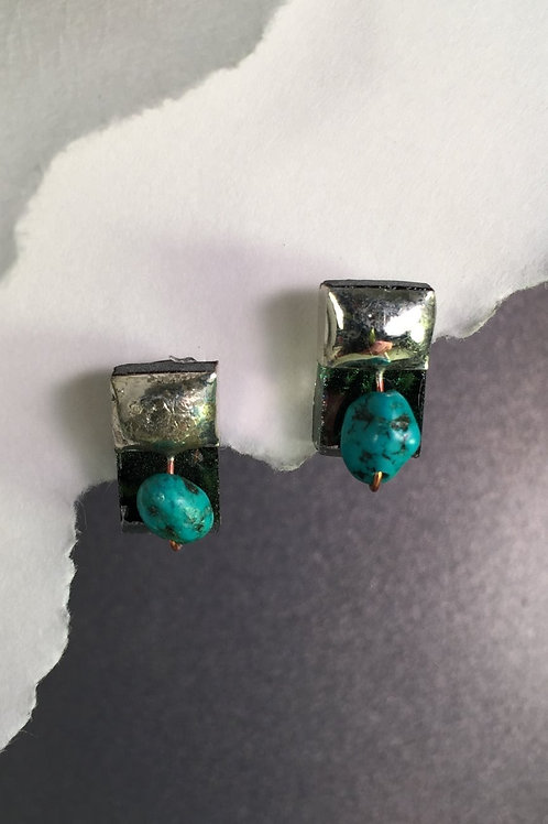 Van Gogh green post earrings (short)