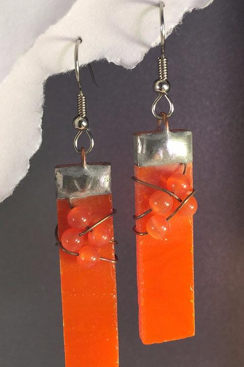 Tangerine orange french wire earrings (long)