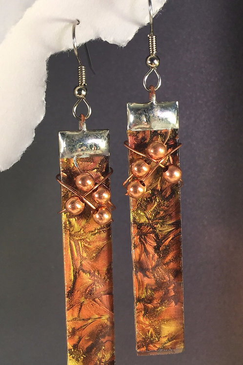 Van Gogh amber copper french wire earrings (extra-long)