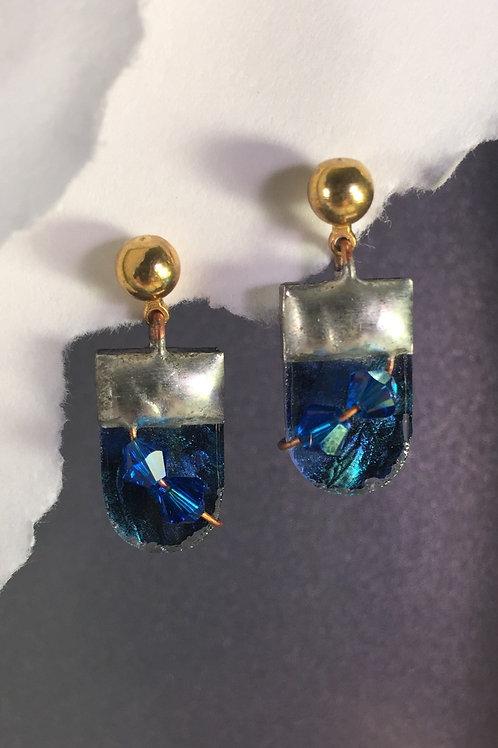 Van Gogh blue green ball post earrings (short)