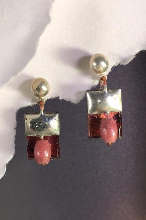 Van Gogh red copper ball post earrings (short)
