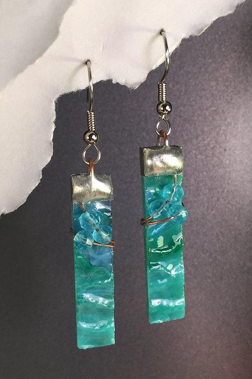 Aqua water glass french wire earrings (long)