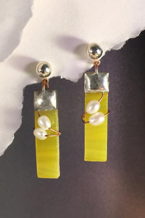 Sunflower yellow ball post earrings (medium)