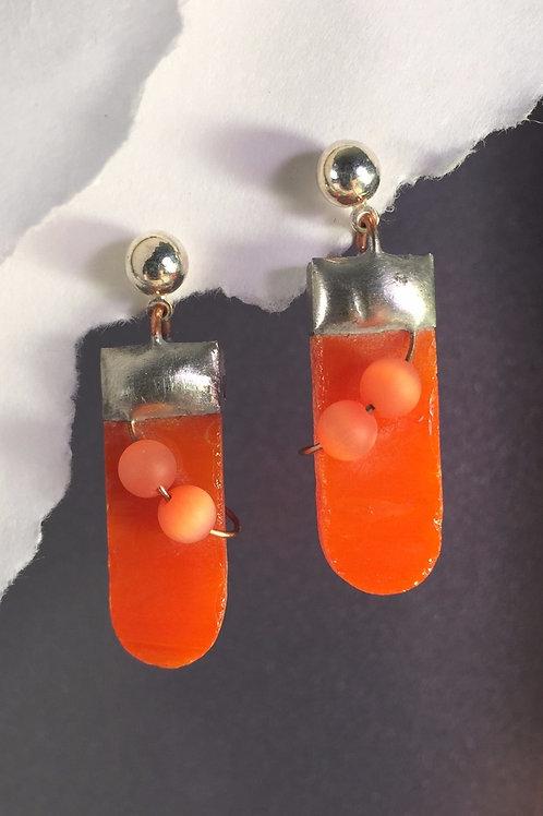 Tangerine orange ball post earrings (medium)