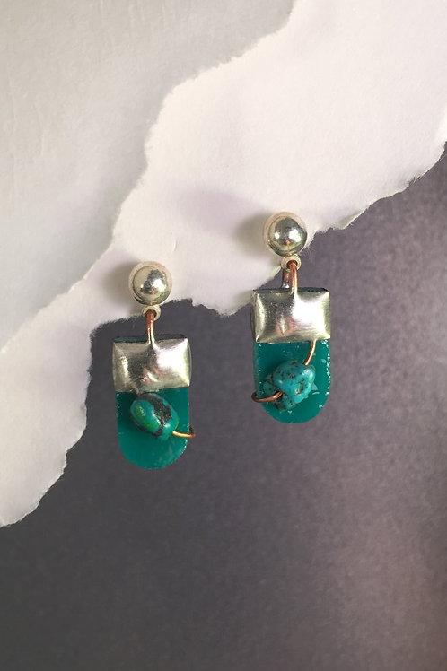 Teal ball post earrings (short)