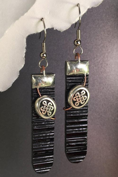 Black french wire earrings (long)