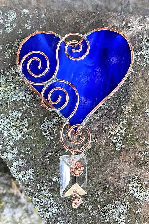 Heart Glass Window Ornament with antique chandelier prism