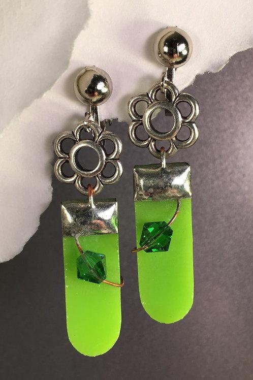 Kiwi green dangling clip earrings (long)