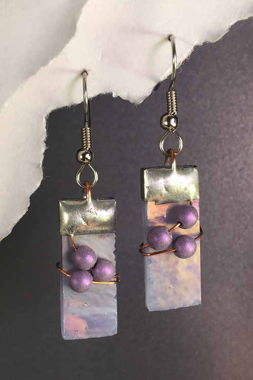 Light purple iridized french wire earrings (medium)