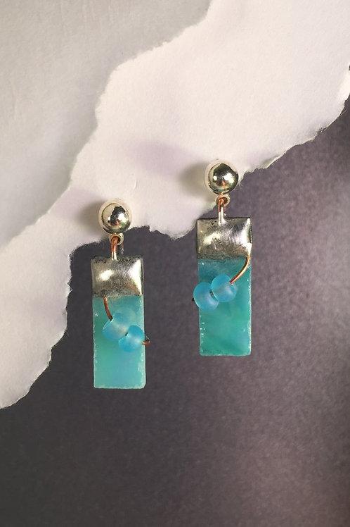 Aqua iridized ball post earrings (short)
