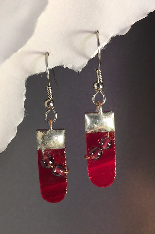 Fire engine red french wire earrings (medium)