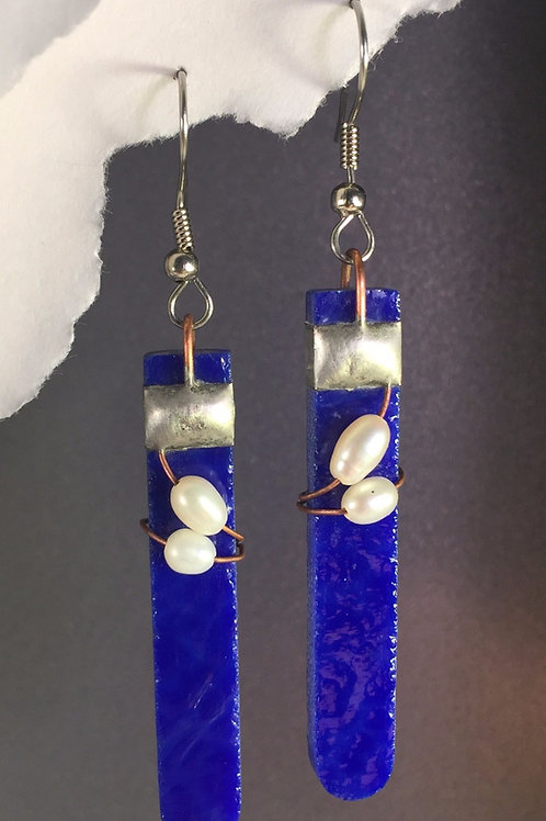 Cobalt blue french wire earrings (long)