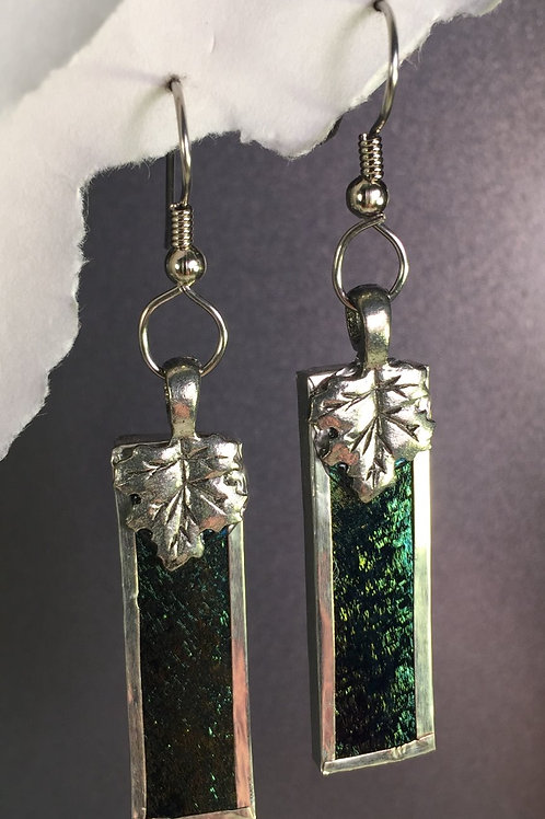 Black iridized french wire earrings (long)