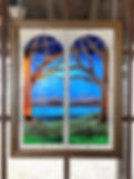 """Stained glass window entitled """"Lake View"""""""