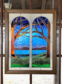 "Stained glass window entitled ""Lake View"""