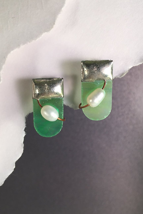Light green iridized post earrings (short)