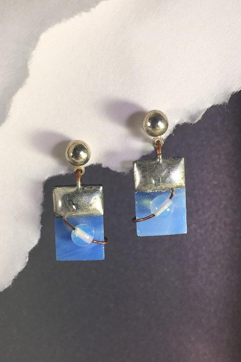 Sky blue ball post earrings (short)