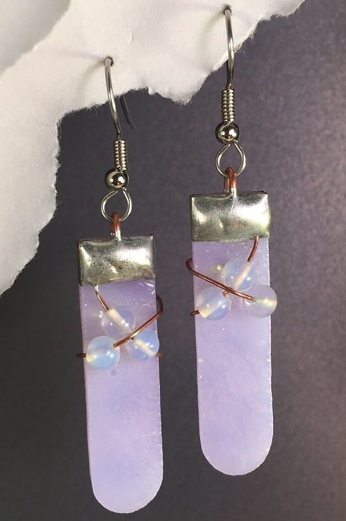 Lavender french wire earrings (long)