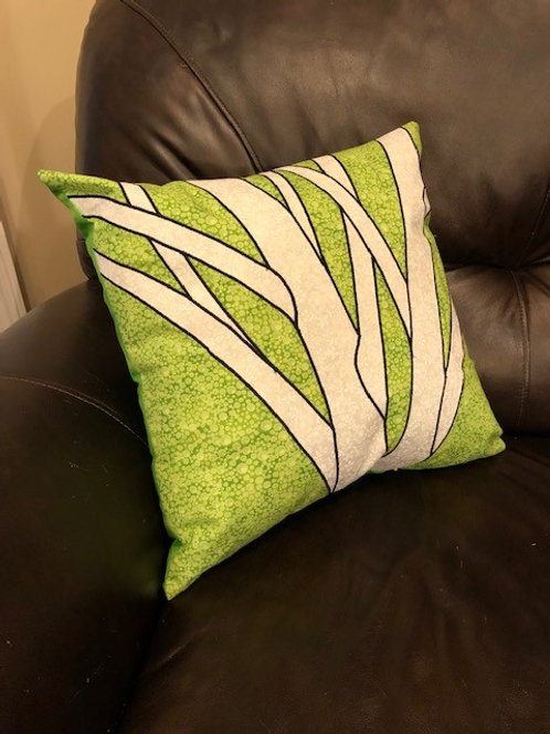 Lime & Purple Birch pillows
