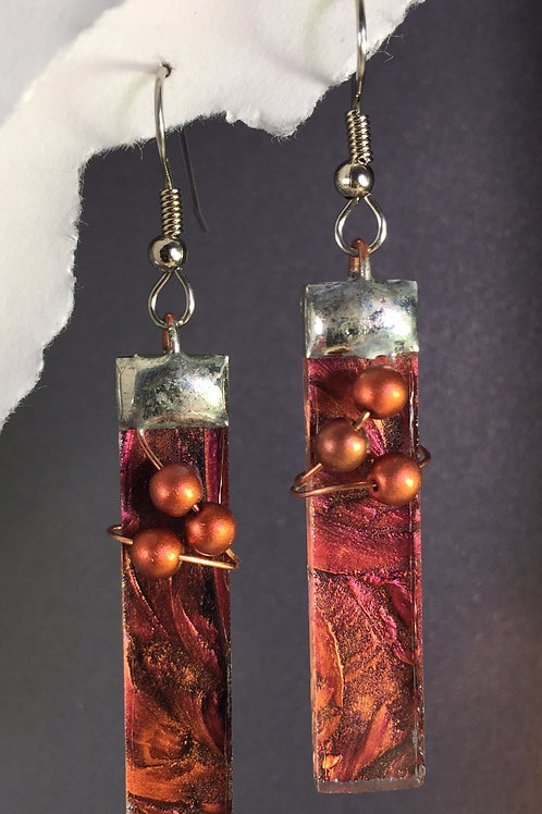 Van Gogh red copper french wire earrings (long)