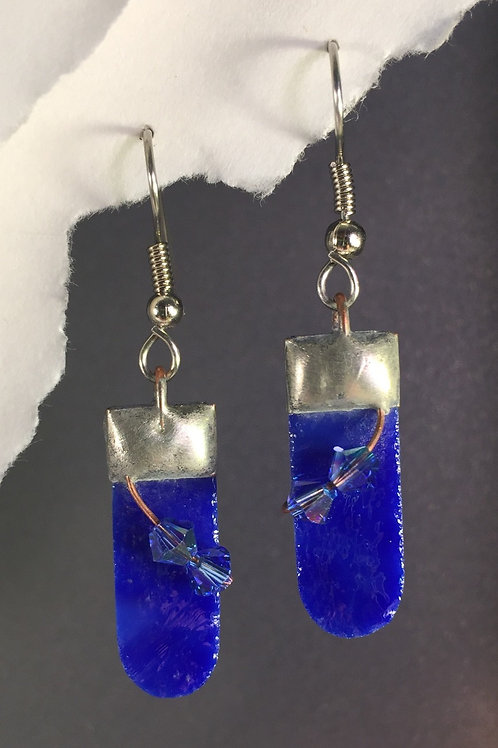 Cobalt blue french wire earrings (medium)