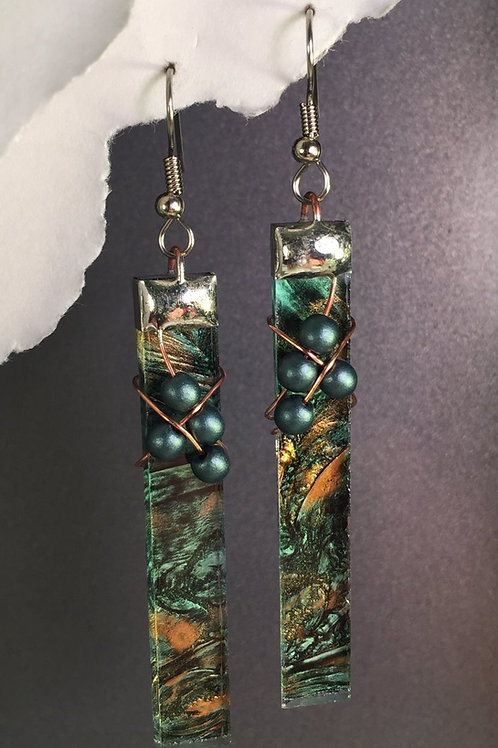 Van Gogh amber green french wire earrings (extra-long)