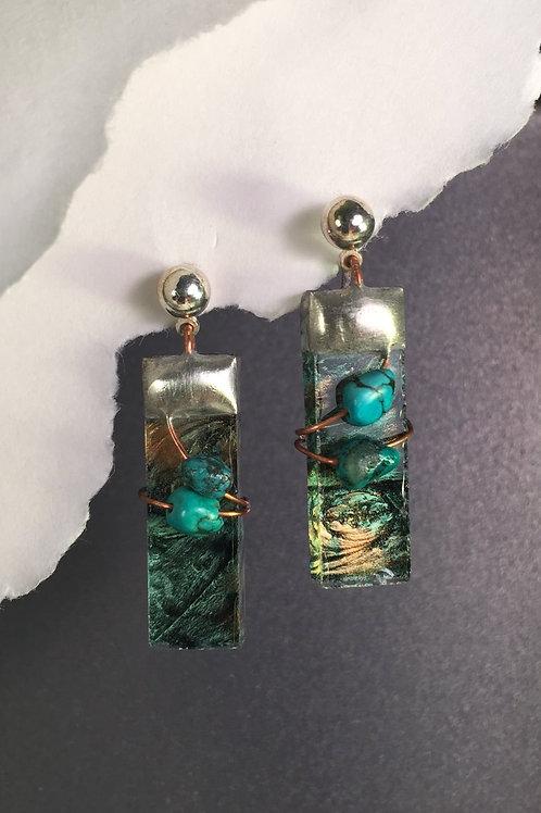Van Gogh amber green ball post earrings (medium)