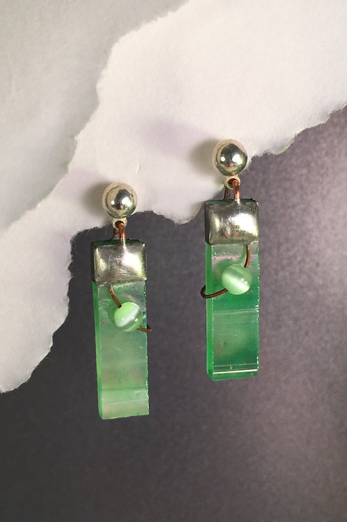 Light Green Iridized ball post earrings (medium)