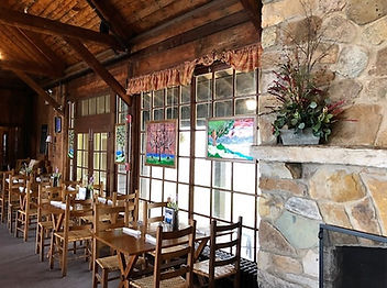 Stained glass windows at Big Meadows Lodge, to the left of the fireplace