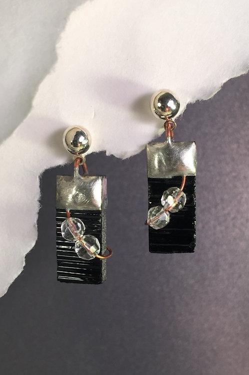 Black ball post earrings (medium)
