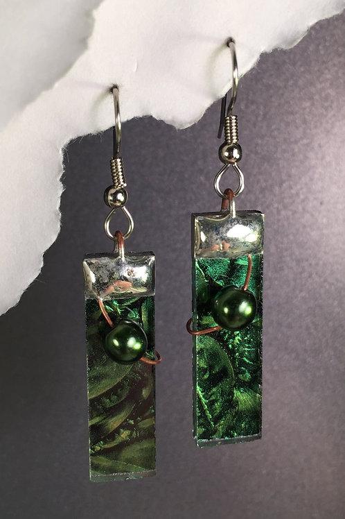 Van Gogh green french wire earrings (long)
