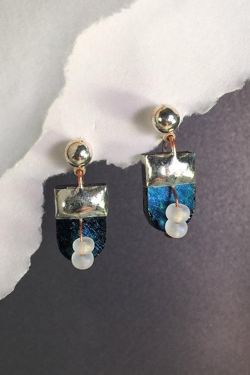 Black iridized ball post earrings (short)