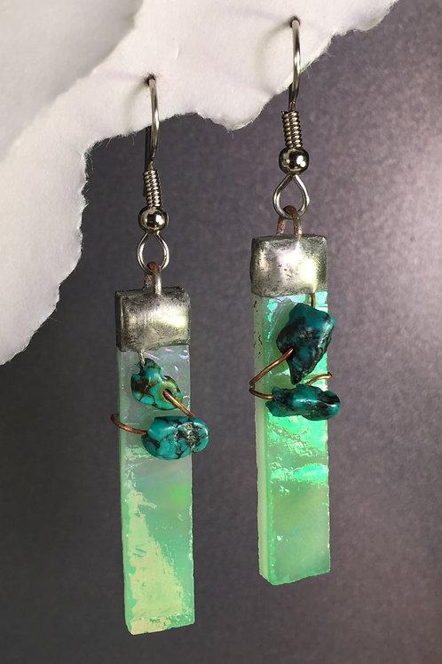 Light green iridized french wire earrings (long)