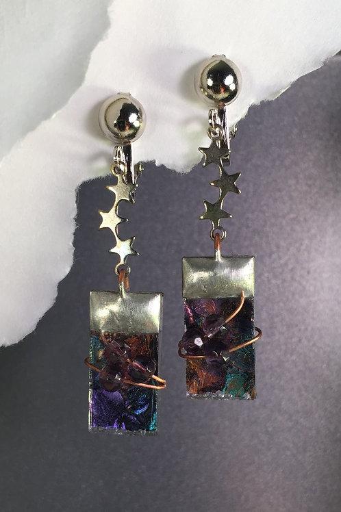 Van Gogh turquoise purple dangling clip earrings (long)