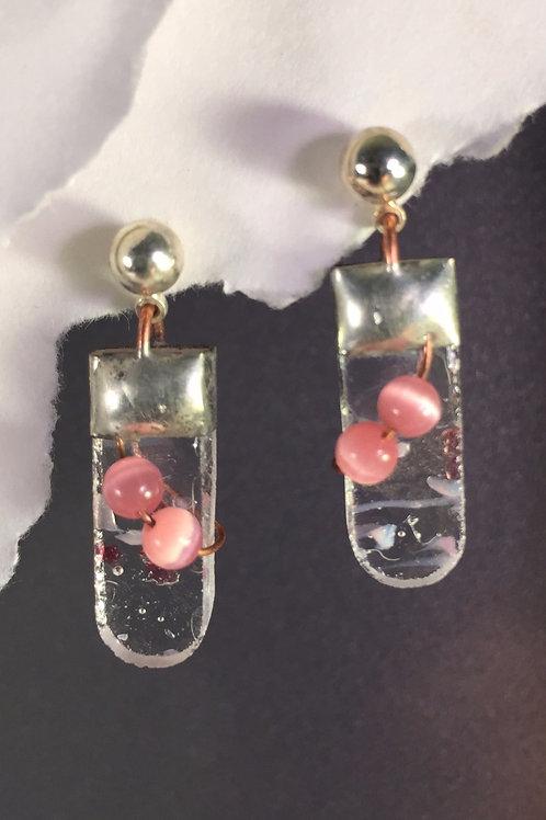 Pink confetti ball post earrings (medium)