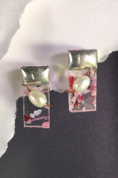 Pink confetti post earrings (medium)