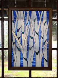 "Stained glass window entitled ""Summer Birches"""