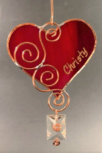 Heart ornament with antique chandelier prism