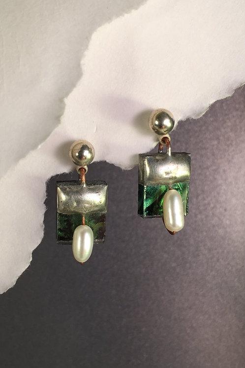Van Gogh green ball post earrings (medium)