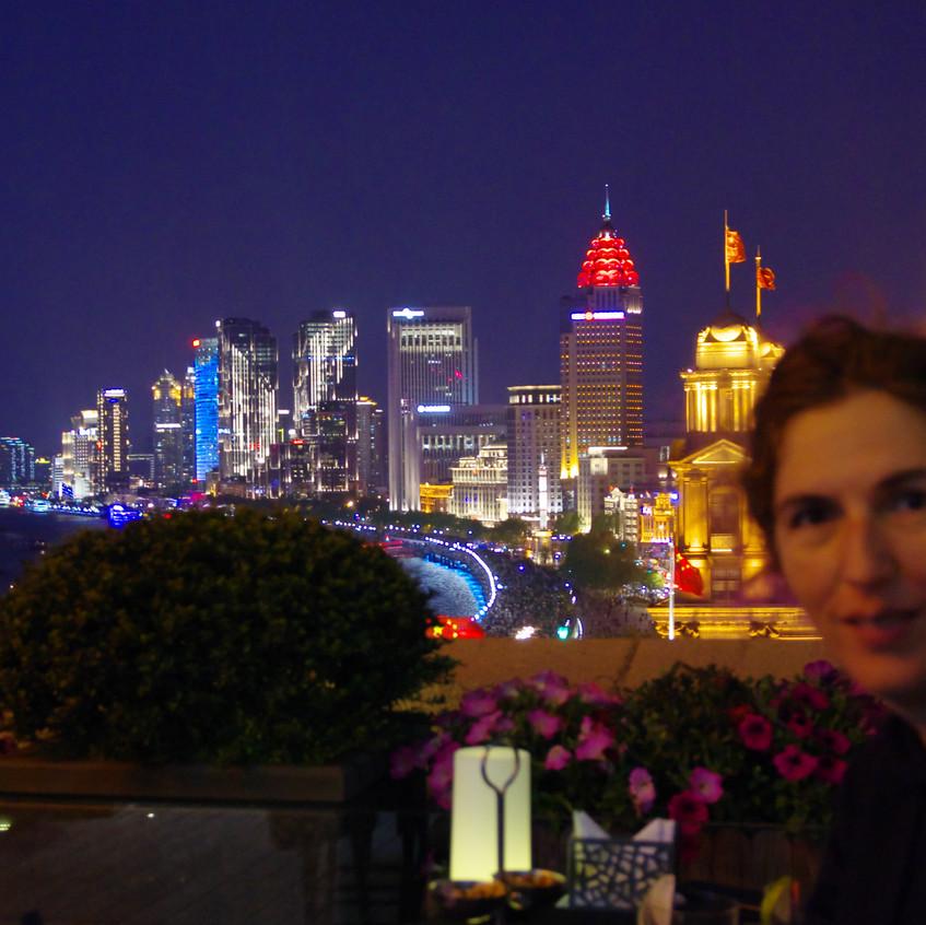 Inge enjoying the view of Shanghai