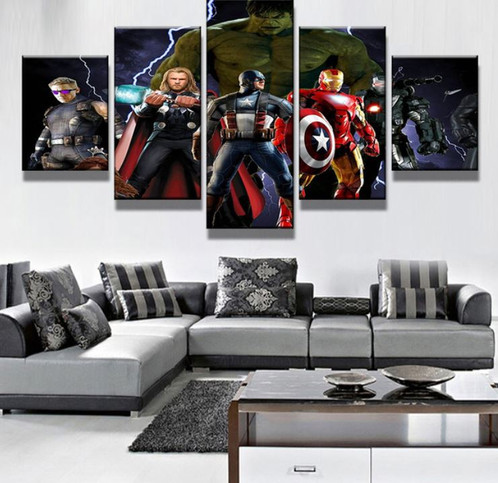 5 Panel Marvelu0027s The Avengers Characters Canvas Wall Art