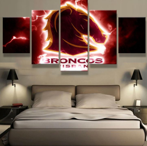 Broncos Wall Art 5 panel brisbane broncos canvas wall art | welcome to canvas print