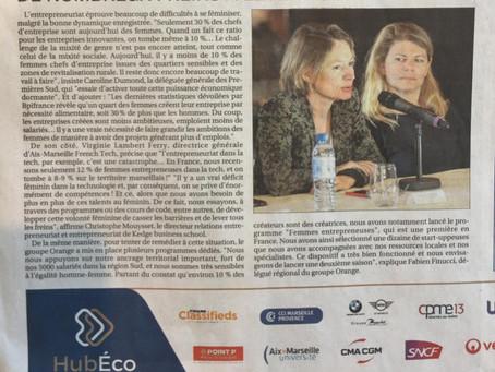 ARTICLE DE PRESSE - L'ENTREPRENEURIAT FÉMININ - INTERVIEW HUB ECO LA PROVENCE