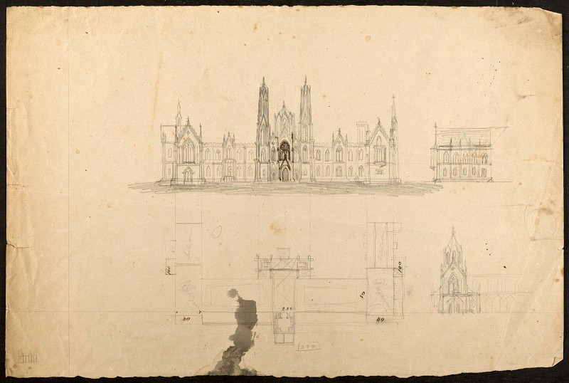 Pencil sketch of Smithsonian Castle design