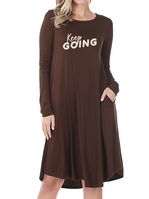"""Keep Going"" Knee Length Dress"