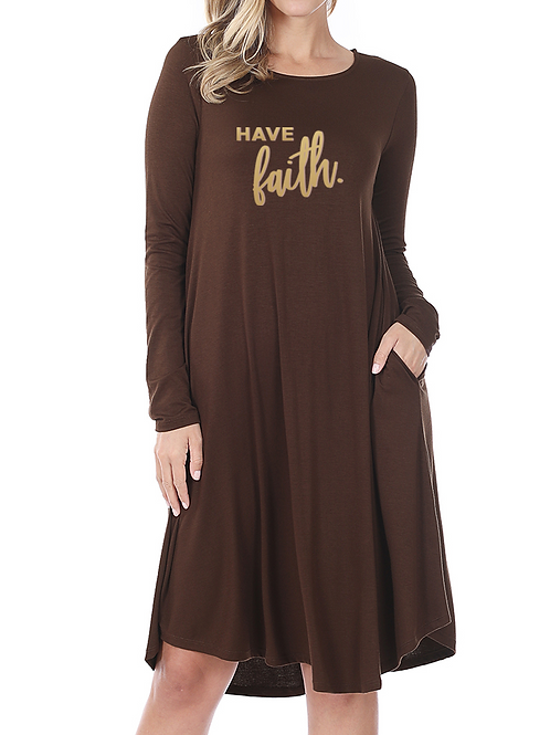 """Have Faith"" Knee Length Dress"