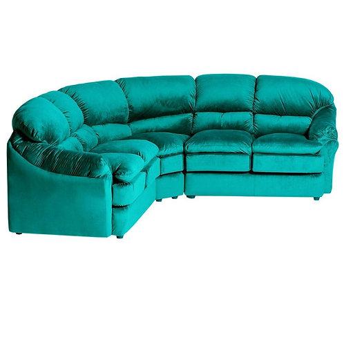 sillón esquinero pana turquesa