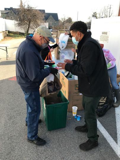 Volunteer helping