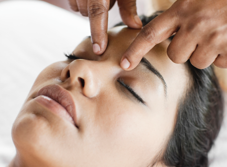 Marma points (the vital energy centers of the body) on the face and head.